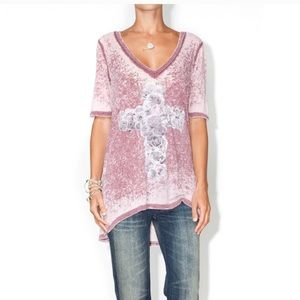 NWT Chaser Rose Cross burnout Oversized Tee